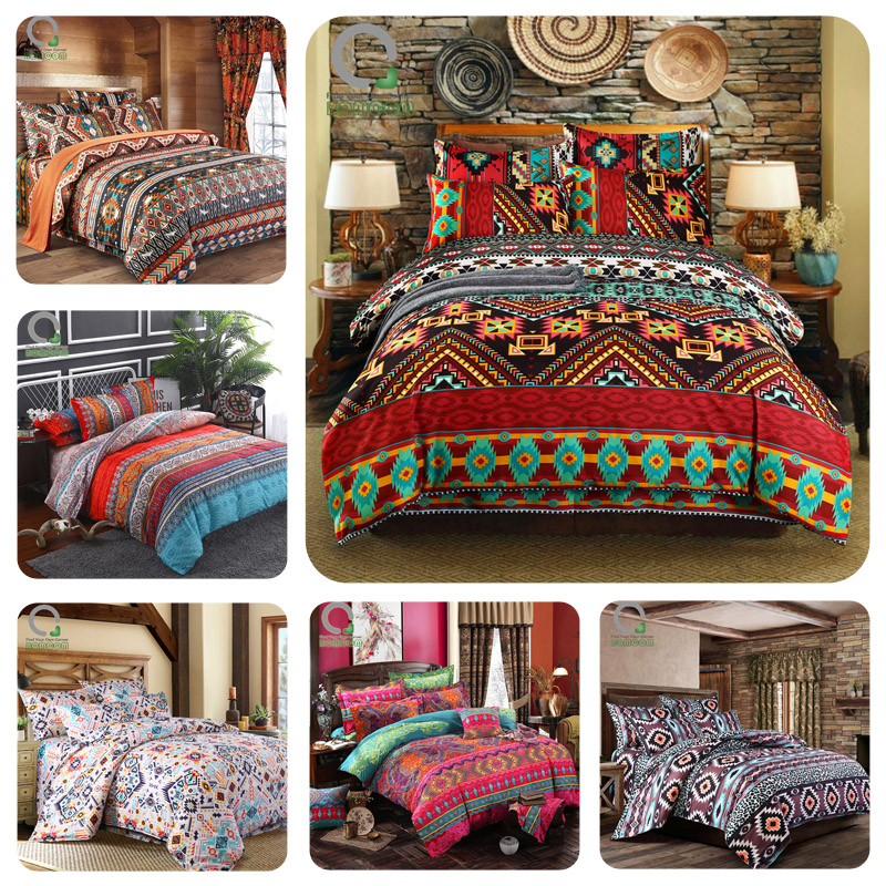 Bomcom Bedding-Set Duvet-Cover-Set Aztec Ethnic Boho Country-Style Bohemian Stripe Vintage title=