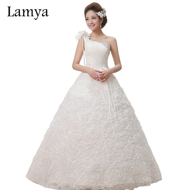 Lace One Shoulder Princess Rose Appliques Wedding Dress Lamya Tulle ...