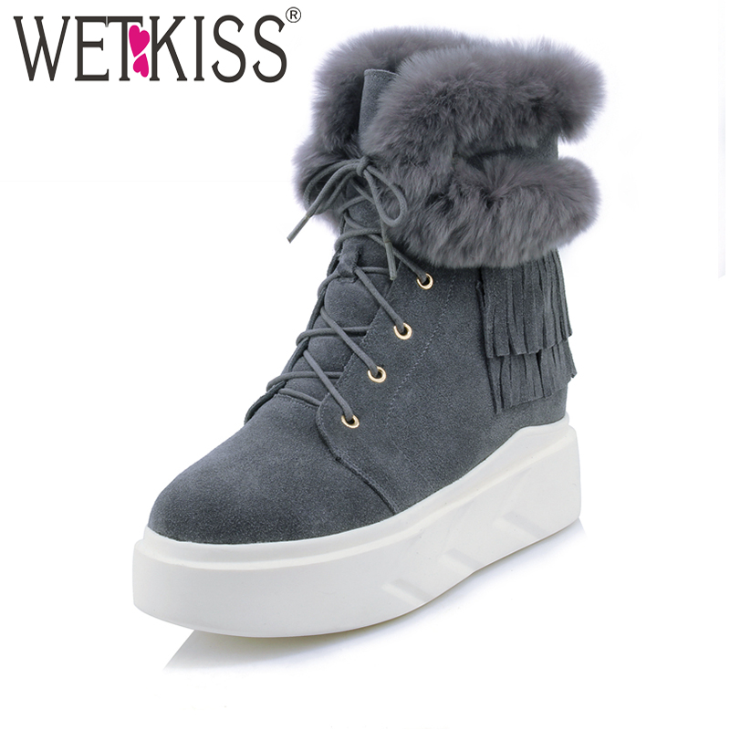 WETKISS Tassel Cross Tied Ankle Boots Designer Warm Fur Winter Boots Height Increasing Platform Women Shoes Natural Leather 2018