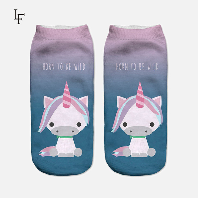 2017 Harajuku 3D Print Unicorn Socks Women Kawaii Ankle Licorne Chaussette Femme Calcetines Mujer Cute  Emoji Art Socks ws66