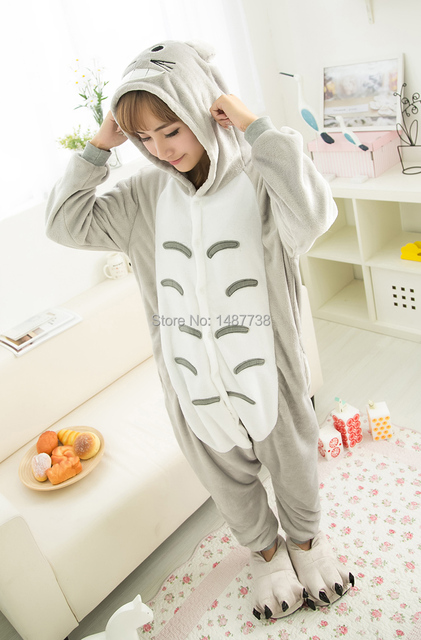 Kigurumi New Winter Anime Pajamas Adult Flannel Lovely Totoro Unisex Pajamas  Cosplay Costume Animal Nightwear Onesie Sleepwear 4aec0e434