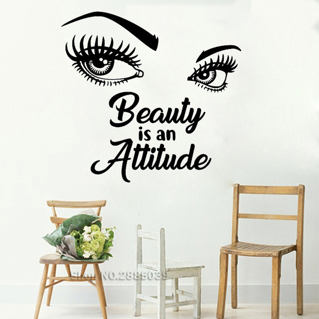 Beauty Is An Attitude Girl Eyes Quotes Beautiful Wall Stickers Decal