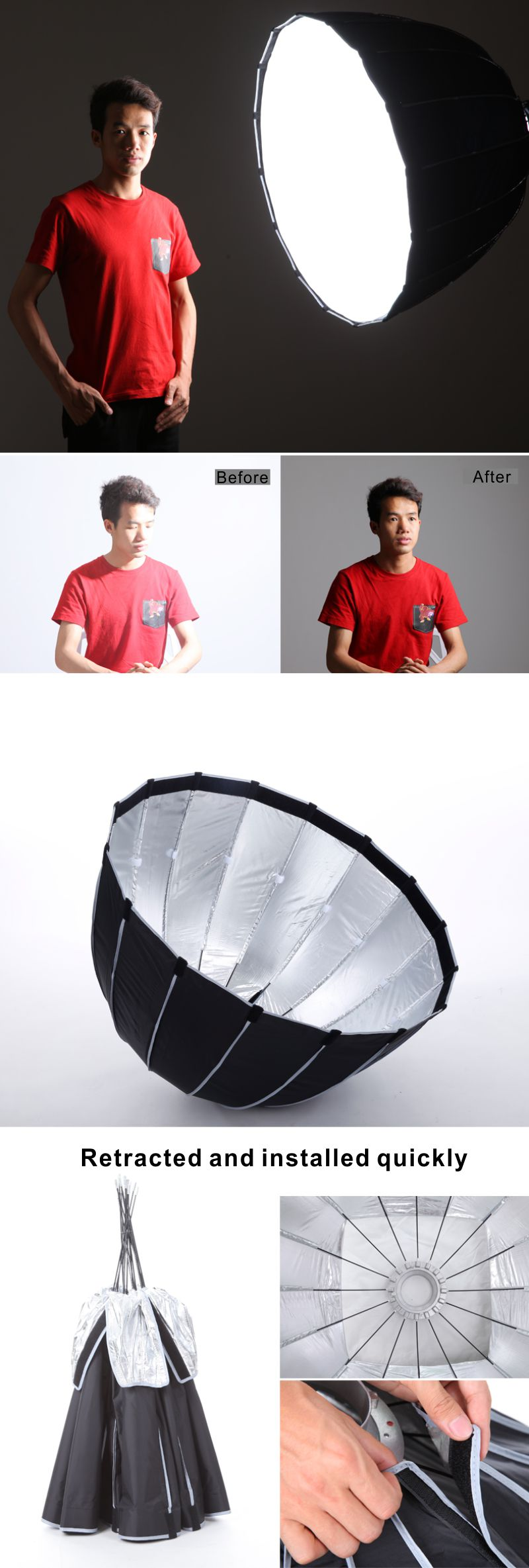 Falcon Eyes Foldable Parabolic Soft Box 90cm Dome Hexadecagon (16-hliðar) Softbox Reflector fyrir Mynd Studio Flash Speedlite PSB-9 Falcon Eyes Składany Paraboliczny Soft Box 90cm Dome Hexadecagon (16-stronny) Softbox Reflektor dla Phot