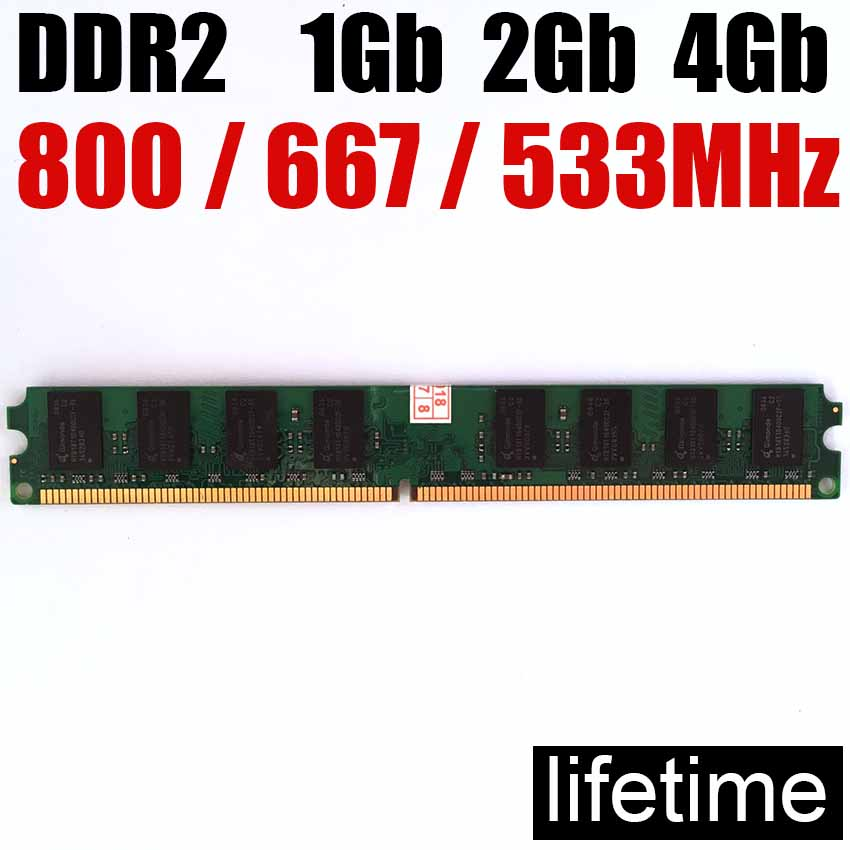 mémoire RAM 4Gb DDR2 8Gb 800Mhz 667Mhz 533Mhz / 8G 4G ddr 2 8 Go 533 667 800 ddr2 4gb de mémoire de bureau - garantie à vie