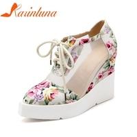 KARINLUNA 2018 Brand Shoes Big Size 34 42 Lace Upper Flowers Printing Spring Summer Shoes Pumps Women Wedges High Heels