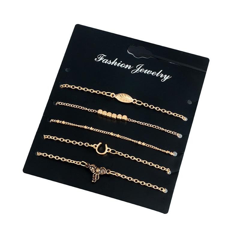 5Pcs/Set New Bijoux Letter V Beads Bracelet Set Fashion Vintage Infinity Bracelets For Women Statement Gift Men Jewelry