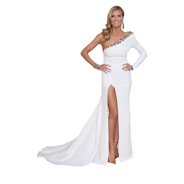 9f81a29884b Heidi Klum Red Carpet Celebrity Dresses One Shoulder Long Sleeve White and Gold  Prom Dress 2017 Beads Fast Shipping Plus Size