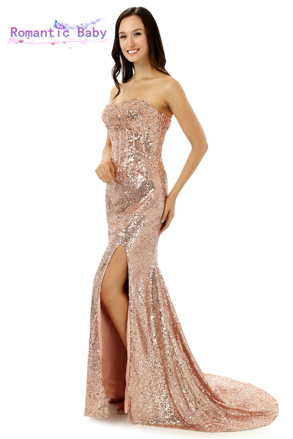 Online Shop Gold Pink Sequin Cheap Mermaid Long Prom Dresses 2015 ...