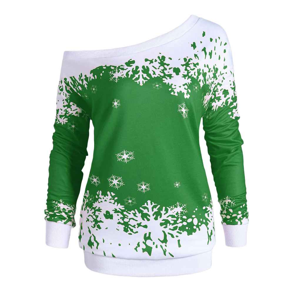 32200de08093e 5XL Plus Size Fashion Women Ladies Long Sleeve Loose Blouse Autumn Christmas  Snowflake Print One Cold Shoulder Tunic Tops