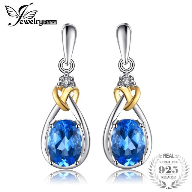 JewelryPalace Love Knot 1.9ct Natural  Blue Topaz Diamond Accented 925 Sterling Silver 18K Gold Dangle Earrings Fine Jewelry