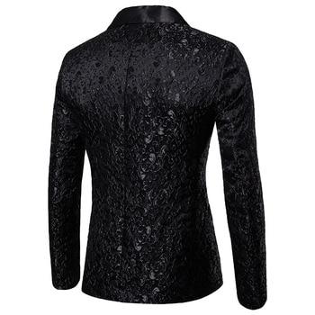 Black Jacquard Bronzing Floral Blazer Men 2018 Luxury Brand Single Button Suit Jacket Men Wedding Party Stage Costume Homme 2XL 1