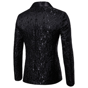 Image 2 - Noir Jacquard bronzant Floral Blazer hommes 2018 marque de luxe simple bouton Costume veste hommes de mariage scène Costume Homme 2XL
