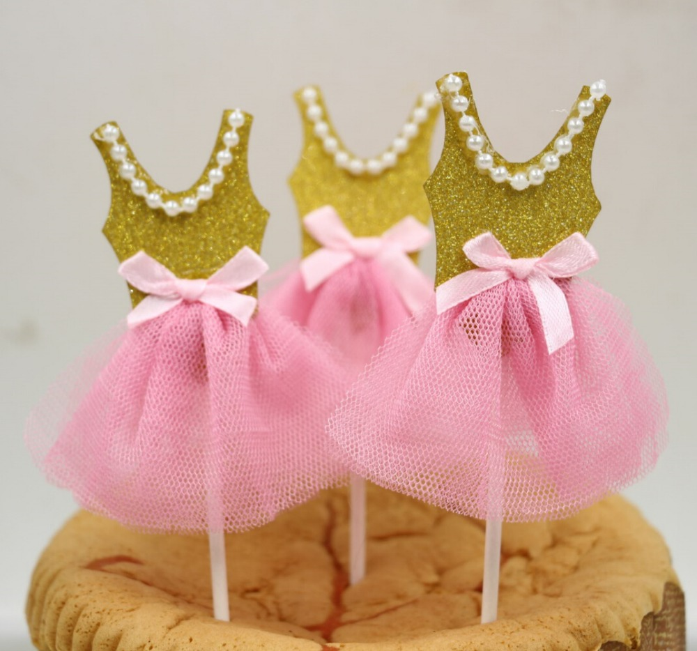 Cupcake Toppers Ballerina Birthday Tutu Baby Shower Pink Gold Favors Bridal Decoration Supplies