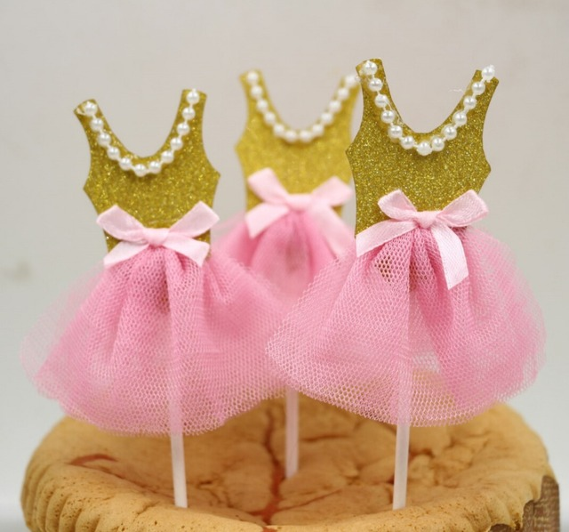 Cupcake Toppers Ballerina Birthday, Tutu Baby Shower, Pink Gold Favors  Bridal Shower Decoration Supplies