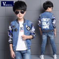 2016 autumn winter hot new boy fashion jacket 4-13 years old children cotton print letters labeling stars jia'ke