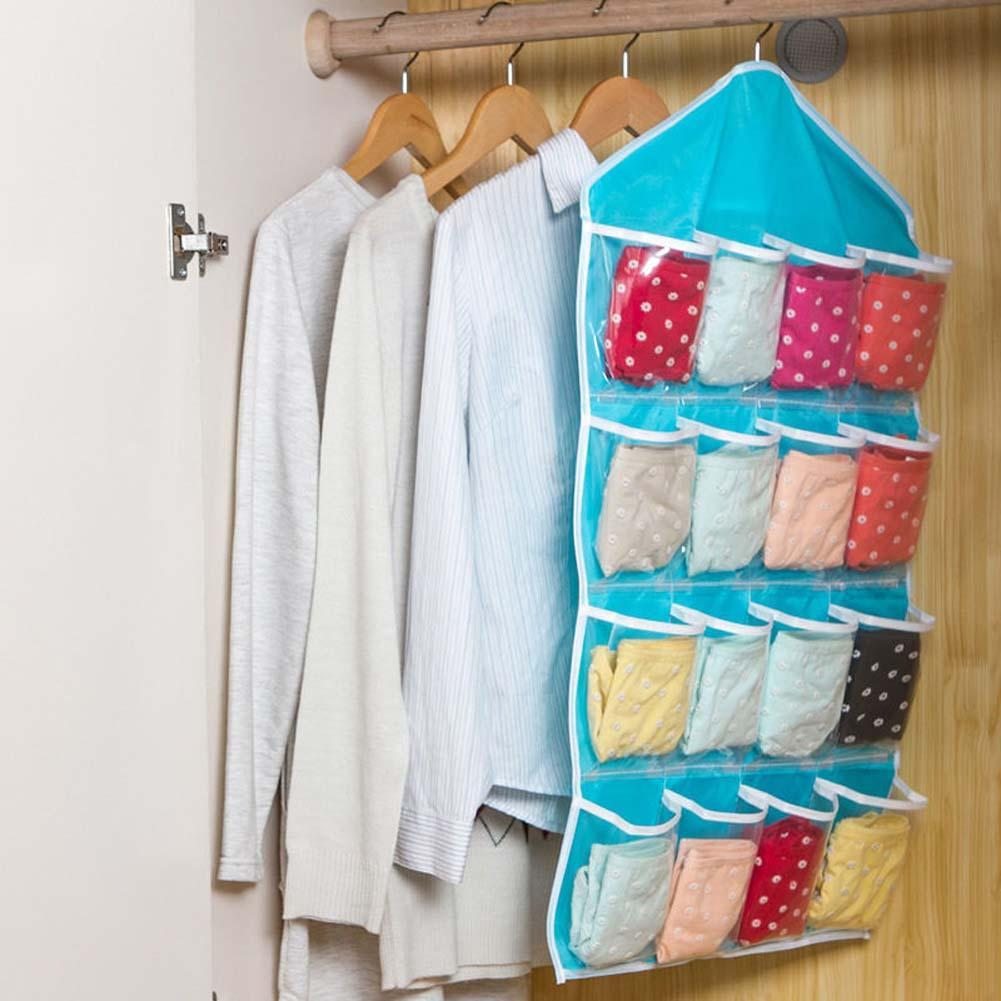 16 Pocket Over Door Hanging Bag Shoe Rack Hanger Storage Tidy Organizer  Blue Closet Shelves Diy Closet Organizer  In Storage Bags From Home U0026  Garden On ...