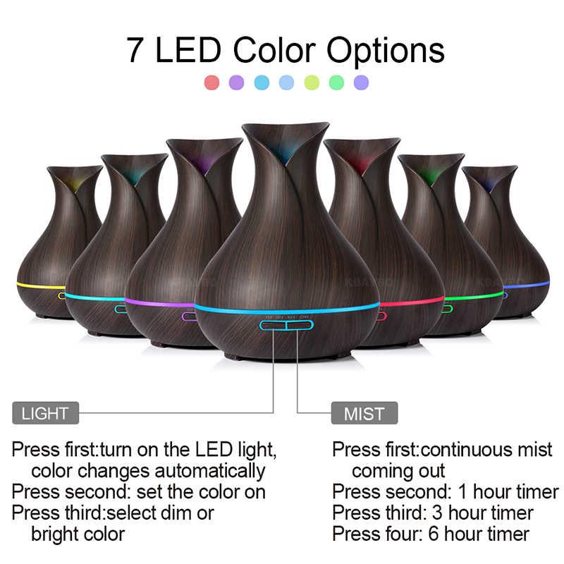 400ml AROMA Essential Oil Diffuser Air Humidifier ไม้ GRAIN Cool Mist LED Night Light สำหรับ Home สำนักงาน
