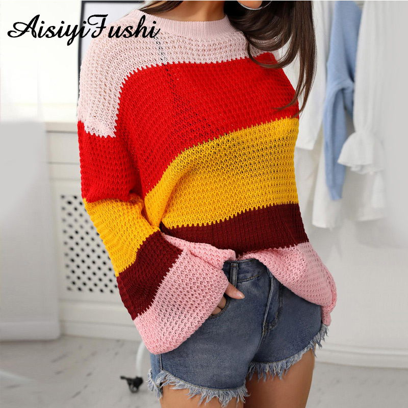 5049ca2e3 Oversized Sweater Women Knitted Pullover Warm Sweater Female Stripe Autumn  Loose Stripped Sweater Women Ladies Winter Sweaters -in Pullovers from  Women s ...