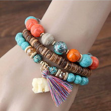 Bohemian Leather Bead Stone Elastic Wrap Bracelets