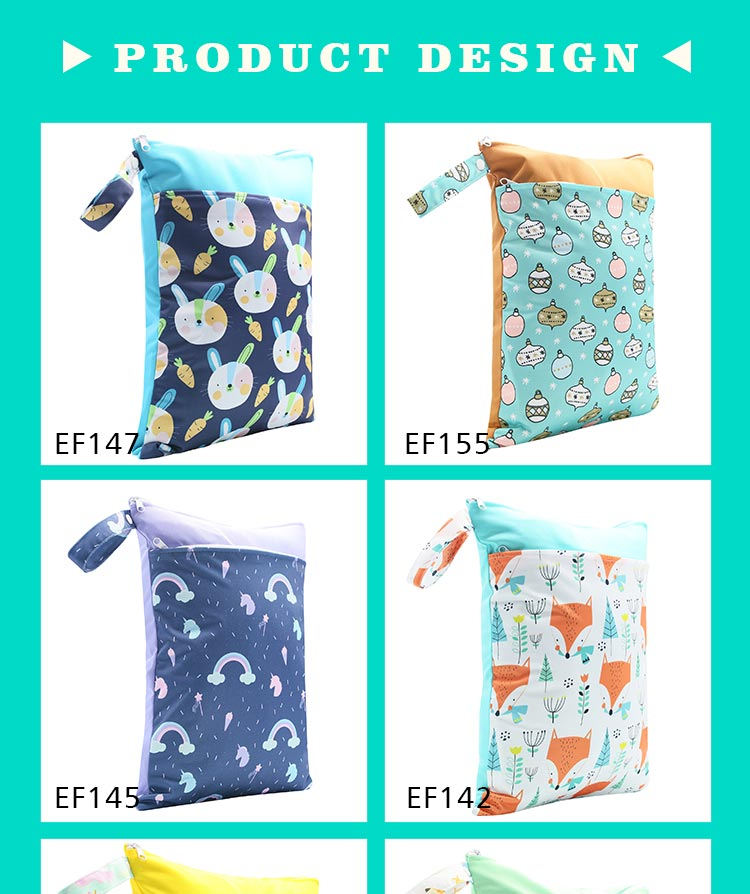 HappyFlute Baby Diaper Bags Double Zippered Wet/Dry Bag Waterproof Wet Cloth Diaper Backpack Reusable Diaper Cover WetBag