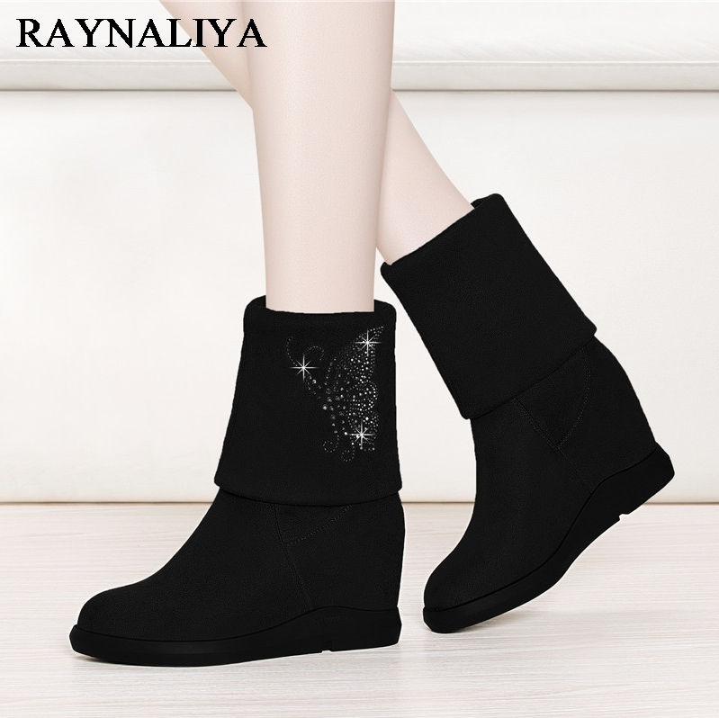 Fashion Motorcycle Boots For Women Black Winter Autumn Warm Comfortable Casual Height Increasing Heel Boots Lady Shoes YG-A0032 брошь нечегонадеть нечегонадеть mp002xw0djsw