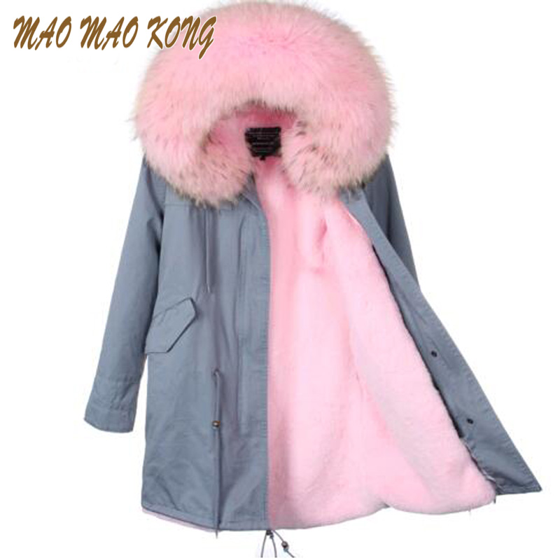 Women Winter Jackets Plus big Raccoon Fur Collar Hooded good quality faux fur Lining Jacket Coat Top Fashion Warm Parkas Pellicc faux rabbit fur brown mr short jacket sleeveless with big raccoon collar fall coat