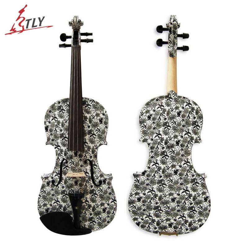 Kinglos Acoustic Art Violin 4/4 Full Size Handcraft Black-white Flowers Painted Maple Violin w/ Ebony Fittings (HB-1309) kinglos antique acoustic violin 4 4 beethoven carved maple art violin ebony fittings with shoulder rest case bow rosin bridge