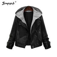 Hooded Leather Jacket Women 2016 New Fashion Autumn Zipper Black Casual Vintage Locomotive Coats