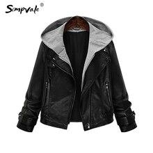 SIMPVALE Hooded Leather Jacket Women New Fashion Autumn Zipper Black Casual Vintage Locomotive Coats