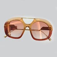 Luxury High Quality Sunglasses Women Fashion Brand Design 2018 Vintage Oversized Square Sunglasses Gradient Sunglasses Women