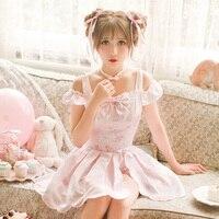 أميرة الحلو لوليتا التنورة مجموعة كاندي المطر الصيف التحديث اليابانية أسلوب لطيف قبالة الكتف الوردي قمم القوس تنورة مجموعة C16AB6108
