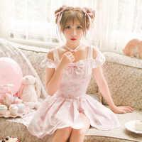 Princess sweet lolita skirt set Candy Rain summer refresh Japanese style cute off shoulder pink tops bow skirt set C16AB6108