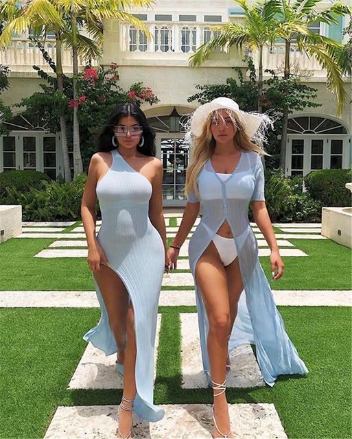 Kylie jenner robe vestidos 2019 Hot sale One Shoulder Split Summer ribbed Dress Women Slim Fit Sexy maxi Long Dress 3