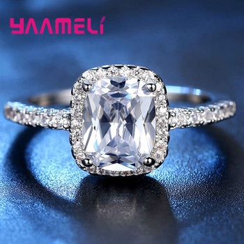 Hot Sale 925 Sterling Silver Finger Ring A++++ Geometry Square Grade Cubic Zircon Stone Sweet Woman Girls Valentines Day Gift 5