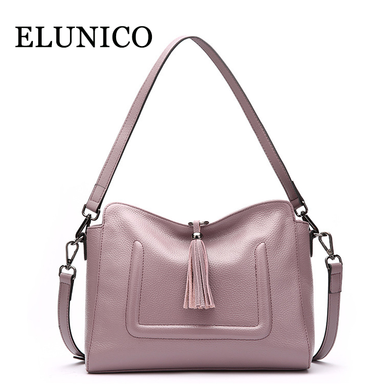 ELUNICO Brand New Genuine Leather Shoulder Bag Ladies Small Tassel Messenger Bags for Women Cowhide Leather Crossbody Bag Bolsas fashion genuine leather bag bolsas tassel women handbag 2015 casual crossbody bag popular shoulder bag new women messenger bags
