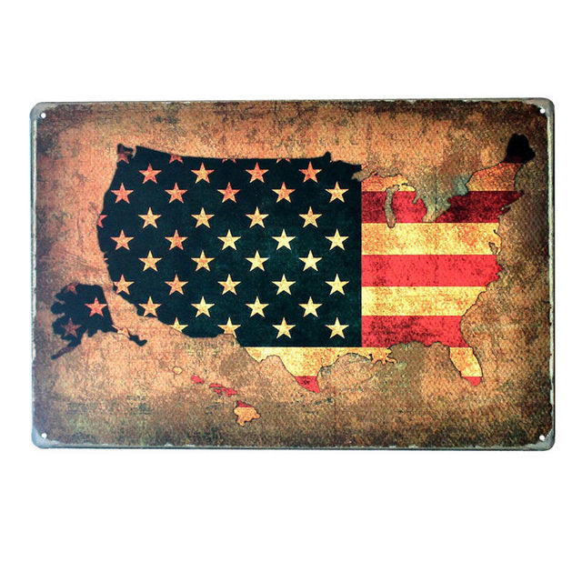Usa Map Flag Tin Metal Signs Retro American Car Number Plates Wall - Us-plates-map