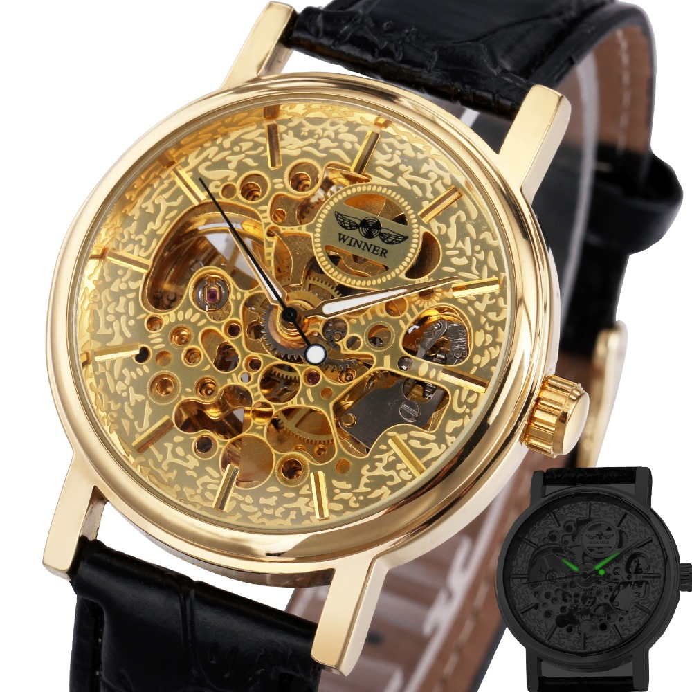 2017 Ladies Luxury Watches font b WINNER b font Women Automatic Mechanical Golden Skeleton Wrist Watches