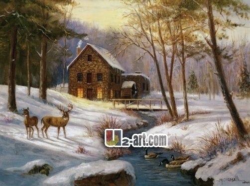 Canvas prints log cabin with deer wholesale ornament for Log cabin painting