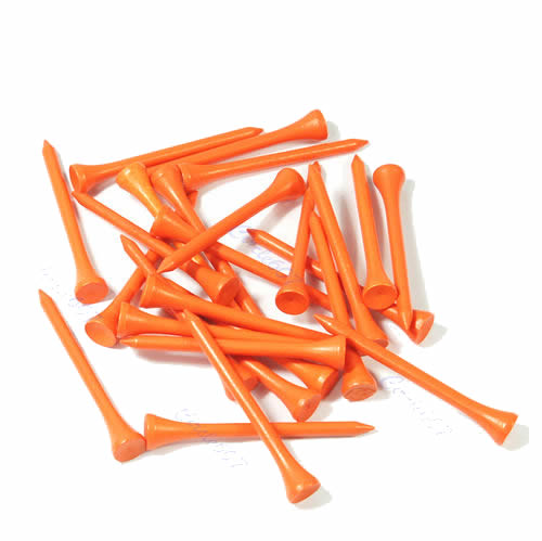 100 X 70mm Golf Ball Wood Tee Tees Orange Brand New 10166