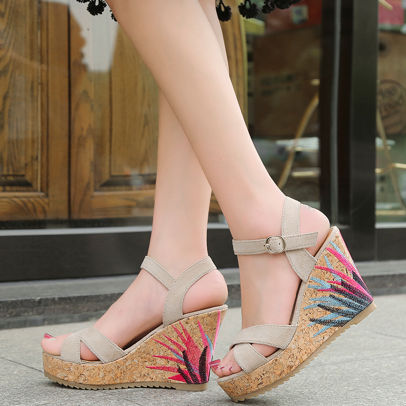 Summer Women Sandals Bohemia Style Wedges Heels Gladiator Sandals with Platform Open Toe Casual Shoes Women size 35-39 fashion woman sandals 2018 summer shoes women casual comfortable wedges open toe sandals women s sandals national style shoes