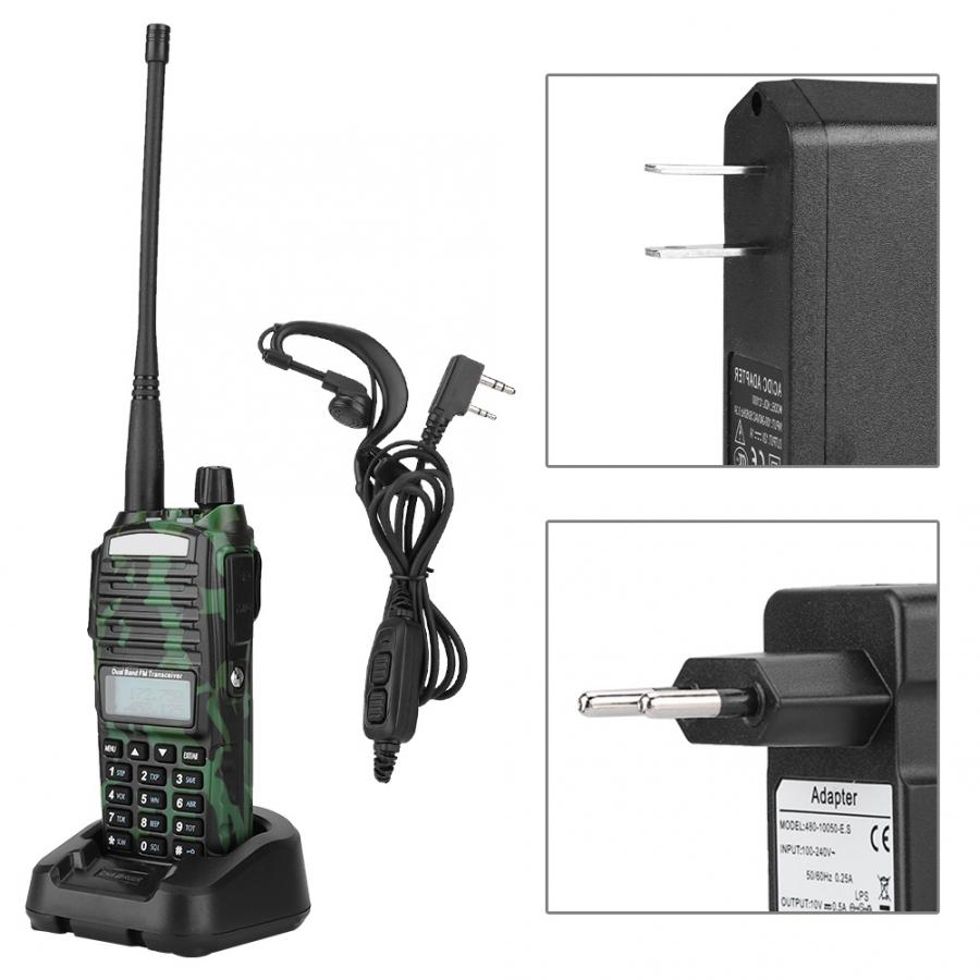 UV-82 Portable charge 2800 mAh Camouflage talkie-walkie interphone Radio pour Baofeng 100-240 V