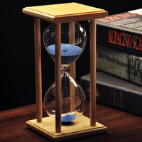 Creative Household Items Glass Sandglass Wood Wedding Hourglass Sand Timer 30 Minute Office Decor Desk Accessories