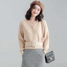 2019 Cardigans V-neck Belt Sweater V-neck Single-breasted Belted Sweater Women Long Sleeve Spring Short  Top недорого