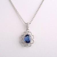 Robira Мода цветок алмаз Подвески Ожерелья для мужчин для Для женщин ювелирные изделия классический 18 К Белое золото Природный сапфир Шарм Под