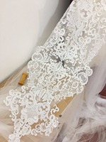 Super Large Sequin Alencon Lace Applique In Ivory Bridal Gown Wedding Dress Cloth Applique For Wedding
