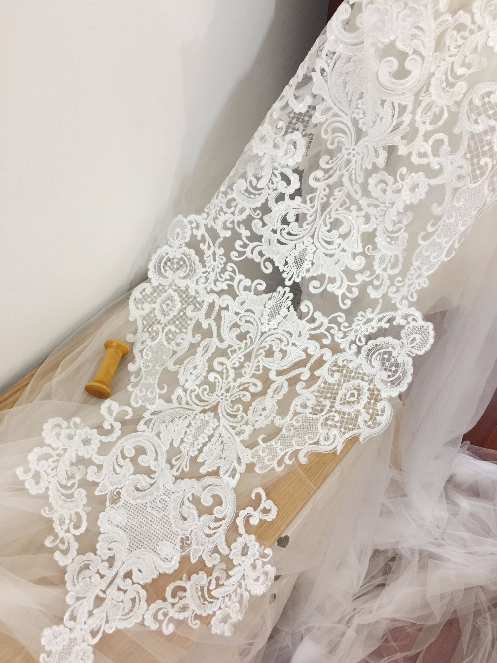 super large sequin alencon lace applique in ivory , bridal gown wedding dress cloth for back piece