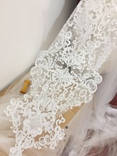 super large sequin alencon lace applique in ivory , bridal gown wedding dress cloth applique for wedding gown back piece