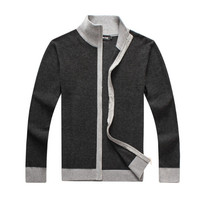 High quality business men's 2017 men's sweater cardigan coat a thick cotton sweater MENS polo neck loose size XXXL