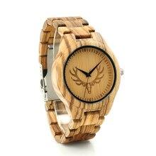 BOBO BIRD K29 Fashion Wooden Watch Deer Head Dial Face Zebre Wooden Men-sized Clock Quartz Watches for Men with Gift Box