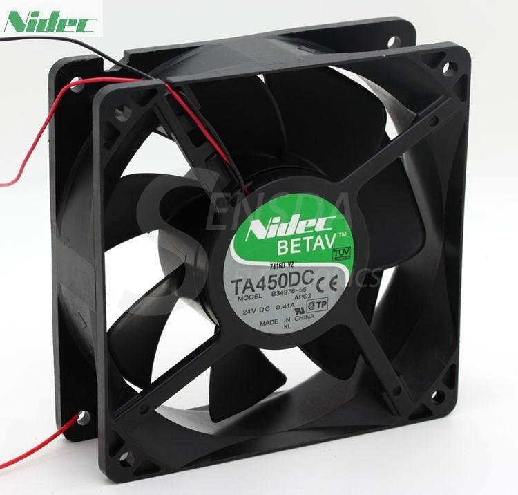 NIDEC TA450DC B34978-55 12038 12cm 120mm 24V 0.41A 2Wire Server Inverter axial Cooling Fan sxdool 380v cooling fan 12038 12cm 120mm 0 04a double ball bearing server inverter pc case cooling fan